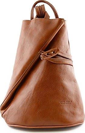 Damen Echtes Leder Rucksack Mit Träger Und Reißverschluss- Aniuk Farbe Beige Braun - Italienische Lederwaren - Rucksack Dream Leather Bags Made in Italy