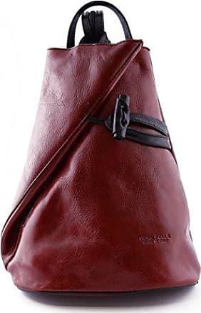 Damen Echtes Leder Rucksack Mit Träger Und Reißverschluss- Aniuk Farbe Blau Und Braun - Italienische Lederwaren - Rucksack Dream Leather Bags Made in Italy