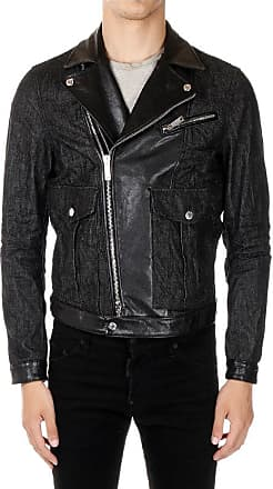 bdcaa4c901e Dsquared2 Denim Biker Jacket with Details in Leather size 50