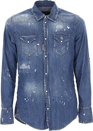 Shirt for Men On Sale, Denim Blue, Cotton, 2017, M - IT 48 XXL - IT 54 L - IT 50 XL - IT 52 Dsquared2