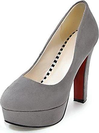 Easemax Damen Einfarbig Nubukleder Low-Cut ohne Verschluss Hoher Blockabsatz Pumps Schuhe Schwarz 34 EU