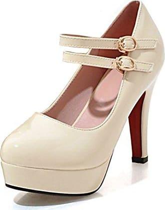 Easemax Damen Elegant Einfarbig Lack Low-Cut Plateau High Heels Pumps Weiß 35 EU