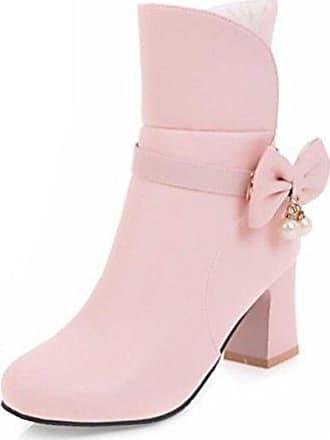 Cingant Woman Damen Stiefelette/High Heels/Elegante Damenschuhe/Halbhohe Stiefel/Blockabsatz/Pink, EU 36