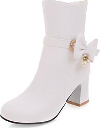 SHOWHOW Damen Schleife Spitze Knöchel Hoch Kurzschaft Stiefel Weiß 39 EU