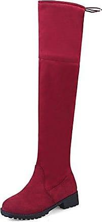 Easemax Damen Elegant Langschaft Overknee Schnürung Nubk Stiefeletten Rot 43 EU
