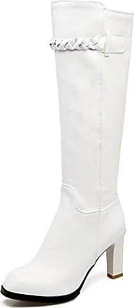 Easemax Damen Elegant Langschaft Halbhohe Riemen Martin Boots Stiefel Weiß 39 EU