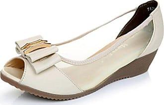 Easemax Damen Elegant Peep Toe Schleife Mesh Keilabsatz Sandale Beige 36 EU