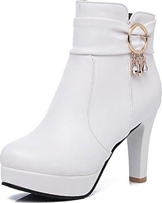 SHOWHOW Damen Strass Winterschuh High Heels Kurzschaft Stiefel Mit Abstaz Weiß 41 EU