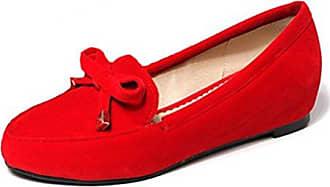 Easemax Damen Modisch Weich Sohle Slipper Schuhe Lederoptik Bootsschuhe Rot 39 EU