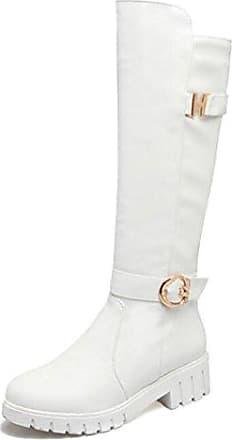 Easemax Damen Warm Klassisch Langschaft Schleife Stiefel Mit Absatz Weiß 40 EU