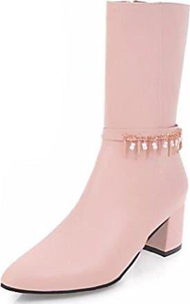 SHOWHOW Damen Quaste Schnürstiefel Damenschuh Stiefeletten Pink 36 EU