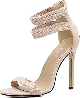 Easemax Damen Sexy Peep-Toe High Heels Plateau Cut Out Stiletto Reißverschluss Sandalen Blau 34 EU