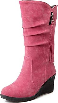 SHOWHOW Damen Nubuk Klassisch Stiefelette Langschäfter Schaftstiefel Mit Stiletto Pink 35 EU