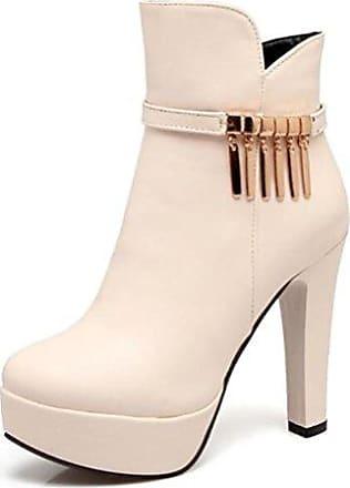 Easemax Damen Modisch Spitze Zehe Schnürung Stilettos Ankle Boots Mit Absatz Weiß 46 EU