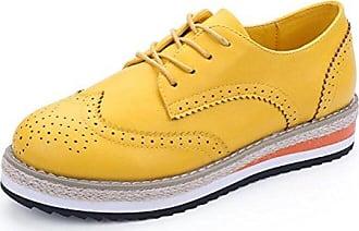 SHOWHOW Damen Brogues Plateau Schnürhalbschuh Sneakers Braun 37 EU