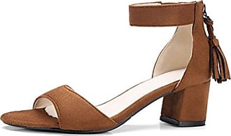 SHOWHOW Damen Peep Toe Blockabsatz Sandale Mit Schnalle Schwarz 42 EU