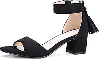 Easemax Damen Modisch Cut Out Peep Toe Stilettos Zipper Sandalen Schwarz 40 EU