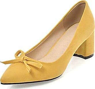 Easemax Damen Einfarbig Nubukleder Low-Cut Ohne Verschluss Hoher Blockabsatz Pumps Schuhe Grau 37 EU