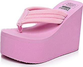 Easemax Damen Modisch Plateau Keilabsatz Zehentrenner Pantoletten Pink 36 EU