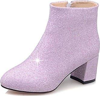 Easemax Damen Sexy Low Ankle Pailetten Blockabsatz Stiefel Mit Reissverschluss Violett 39 EU