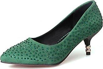 SHOWHOW Damen Elegant Low Top Spitz Zehe High Heels Pumps Grün 37 EU