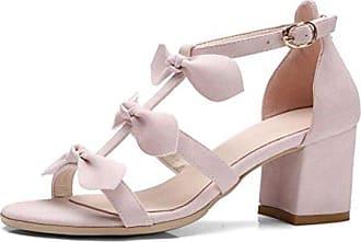 SHOWHOW Damen Glitzer Paillette Peep Toe T-Straps Sandalen mit Absatz Gold 34 EU