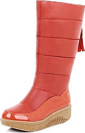 SHOWHOW Damen Nubukleder Halbschaft Stiefel Mit Absatz Chelsea Boots Braun 35 EU
