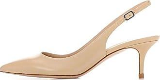 EDEFS Damen Kitten-Heel Slingback Pumps Spitze 6.5cm Mittlerer Absatz Pointed Toe Schuhe  40 EUBeige