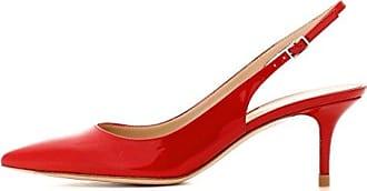 EDEFS Damen Kitten-Heel Slingback Pumps Spitze 6.5cm Mittlerer Absatz Pointed Toe Schuhe  43 EURote