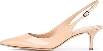 EDEFS Damen Kitten-Heel Slingback Pumps Spitze 6.5cm Mittlerer Absatz Pointed Toe Schuhe  40 EUNude