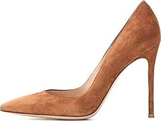 SHOWHOW Damen Elegant Nubuk Spitz Stiletto High Heels Pumps Beige 40 EU