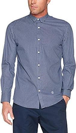 1050W170014, Camisa Casual para Hombre, Marino Blanco, 38 El Ganso