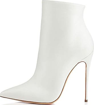 Easemax Damen Warm Klassisch Langschaft Schleife Stiefel Mit Absatz Weiß 35 EU