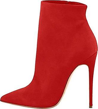 Aisun Damen Schnallen Reißverschluss Stiletto Stiefelette Ankle Boots Rot 39 EU