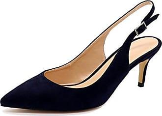 SHOWHOW Damen Suede Spitz Zehe Kitten Heels Sandalen mit Absatz Mules Schwarz 32 EU