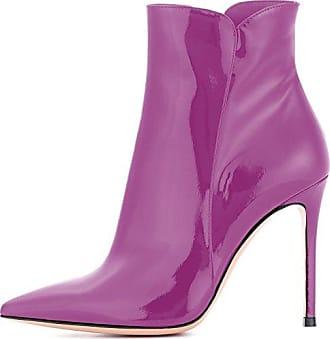 Easemax Damen Sexy Low Ankle Pailetten Blockabsatz Stiefel Mit Reissverschluss Violett 34 EU