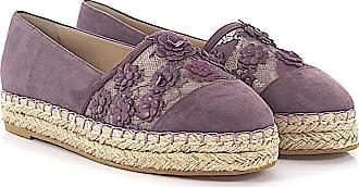 Flat shoes bast suede Flower pattern black Elie Saab