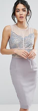 Bleistiftkleid aus Spitze mit Kontrastbahnen und Muschelsaum - Grau Elise Ryan