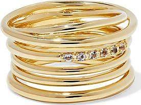 Elizabeth And James Woman Gold-tone Crystal Ring Gold Size 6 Elizabeth & James