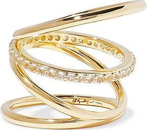 Elizabeth And James Woman Erte Set Of Two Gold-tone Crystal Rings Gold Size 3 Elizabeth & James
