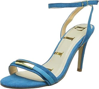 7127480609 - Sandalias con Punta Abierta de Tela Mujer, Color Azul, Talla 38 Kurt Geiger
