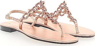 Flip-Flops calfskin Metallic rose Emanuela Caruso Capri