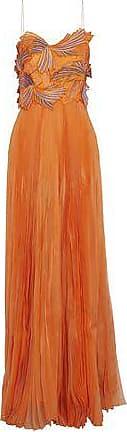 Emilio Pucci Woman Appliquéd Embroidered Pleated Silk-organza Gown Orange Size 38 Emilio Pucci