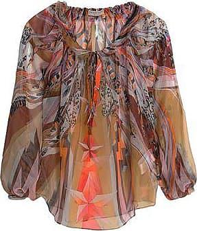 Emilio Pucci Woman Silk-trimmed Metallic Fil Coupé Top Silver Size 44 Emilio Pucci