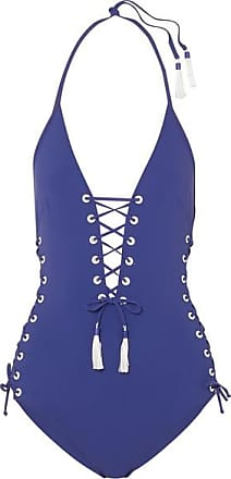 Carlotta Tasseled Lace-up Swimsuit - Royal blue Emma Pake
