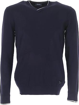 Sweater for Men Jumper On Sale, Dark Blue Navy, Cotton, 2017, L M XL Emporio Armani