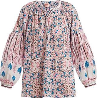 Kantha-shell-print V-neck cotton shirt Emporio Sirenuse