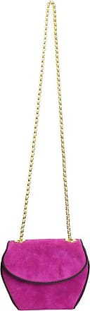 Escada Pink Suede With Black Piping Trim Gold Chain Shoulder Bag