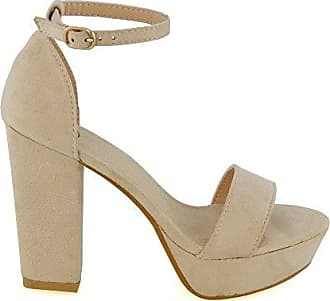 Damen Mary Jane Plateau Schuhe mit Knöchelriemen Schwarz oder Hautfarben - k.A., Hautfarben 40
