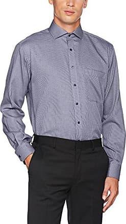 Mens Comfort Fit Langarm Mittelblau Gestreift Mit Hai-Kragen Formal Shirt Eterna